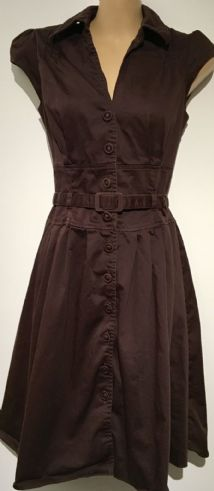 DOROTHY PERKINS CHOCOLATE BROWN BUTTONED SHIRT DRESS SIZE 8
